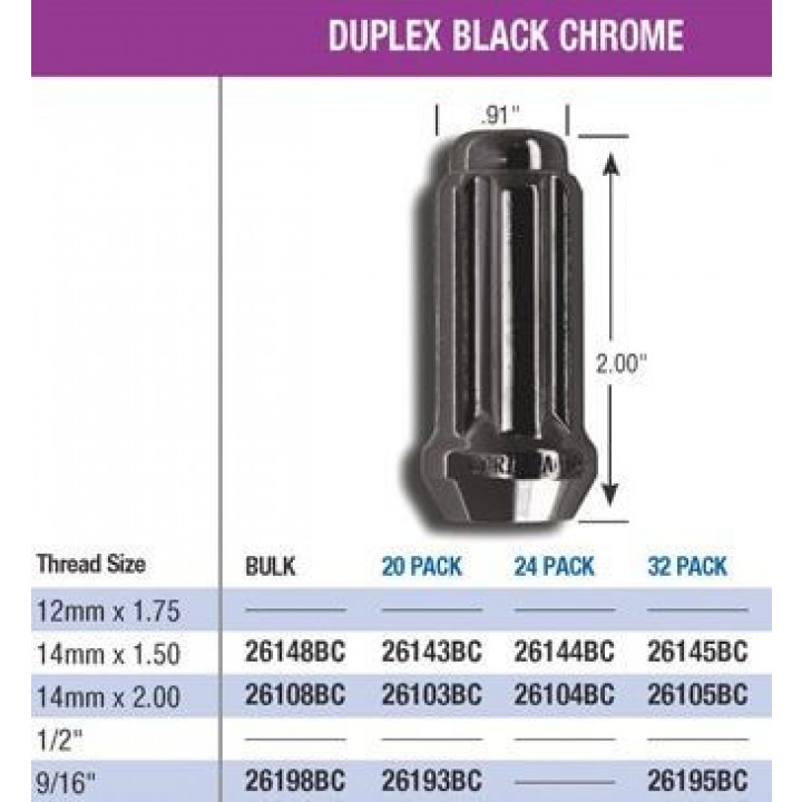 Gorilla Automotive 26148BC Black Chrome 14mm x 1.5 Duplex Acorn Lug Nut