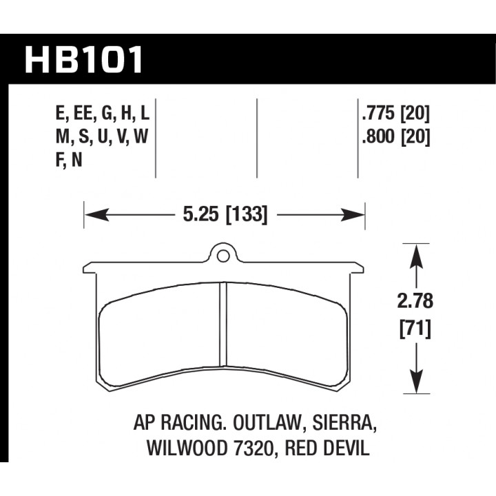 Hawk Performance HB101W.800 Disc Brake Pad DTC-30 w/0.800 Thickness Front or Rear