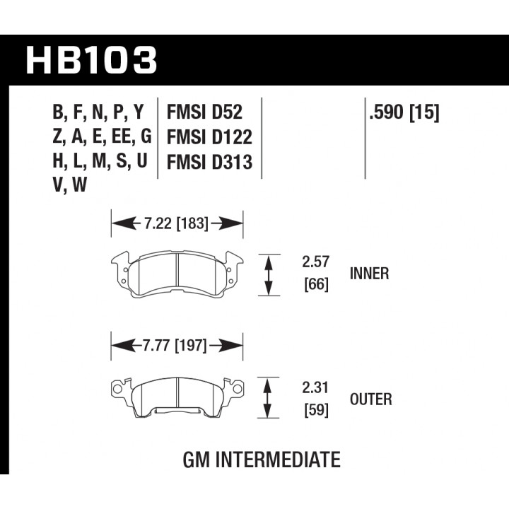 Hawk Performance HB103W.590 Disc Brake Pad DTC-30 w/0.590 Thickness Front