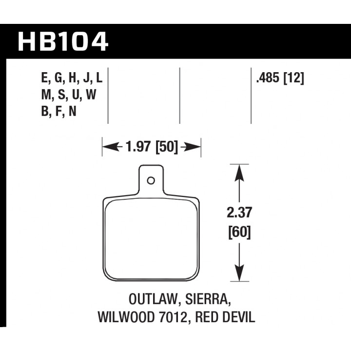 Hawk Performance HB104W.485 Disc Brake Pad DTC-30 w/0.485 Thickness Front or Rear