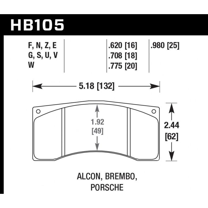 Hawk Performance HB105U.620 Disc Brake Pad DTC-70 w/0.620 Thickness Front or Rear