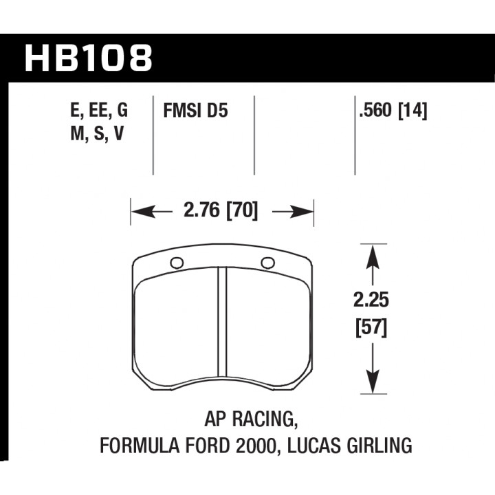 Hawk Performance HB108G.560 Disc Brake Pad DTC-60 w/0.560 Thickness Front or Rear