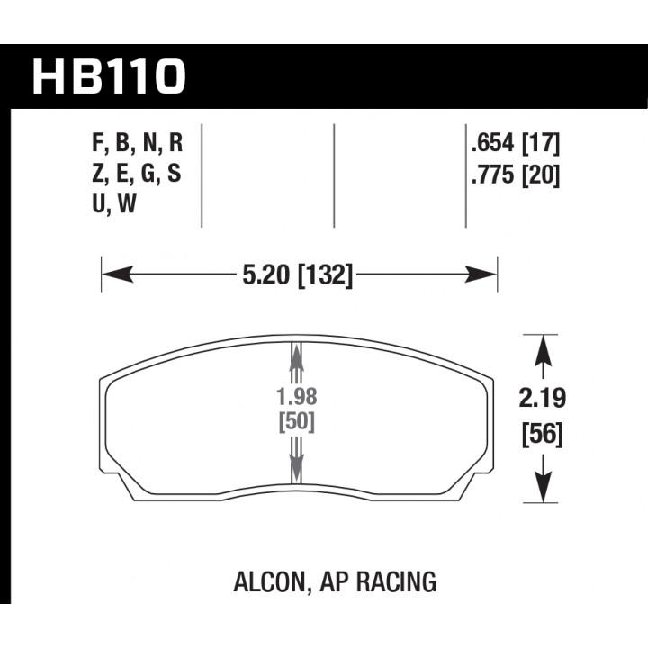 Hawk Performance HB110N.654 HP Plus Brake Pads