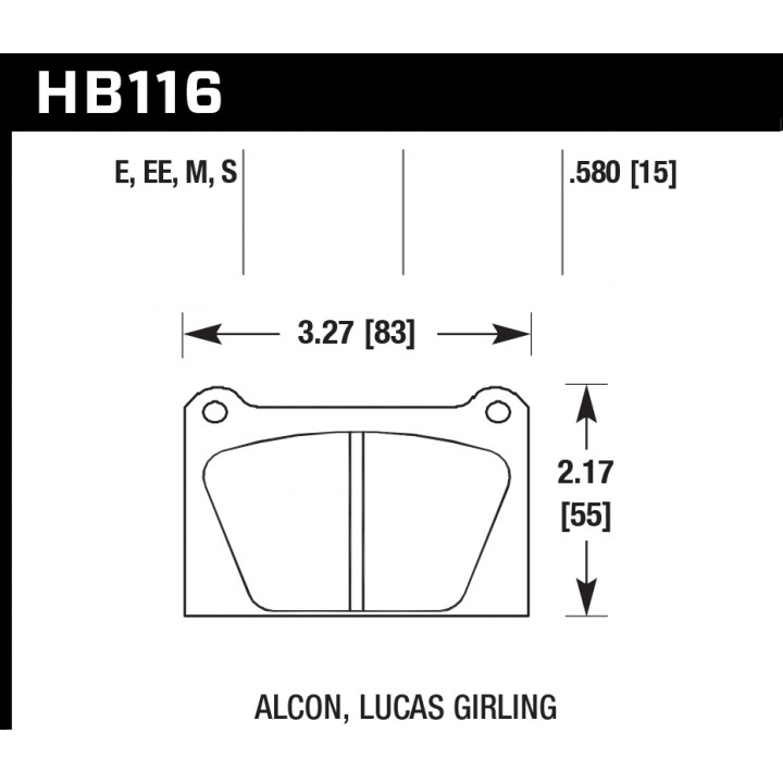 Hawk Performance HB116S.580 Disc Brake Pad HT-10 w/0.580 Thickness Front or Rear