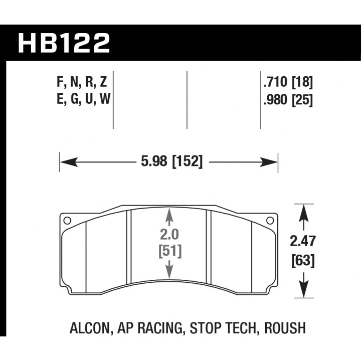 Hawk Performance HB122U.710 Disc Brake Pad DTC-70 w/0.710 Thickness Front