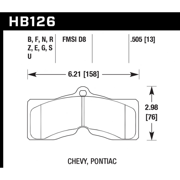 Hawk Performance HB126N.505 Disc Brake Pad HP Plus w/0.505 Thickness Front or Rear