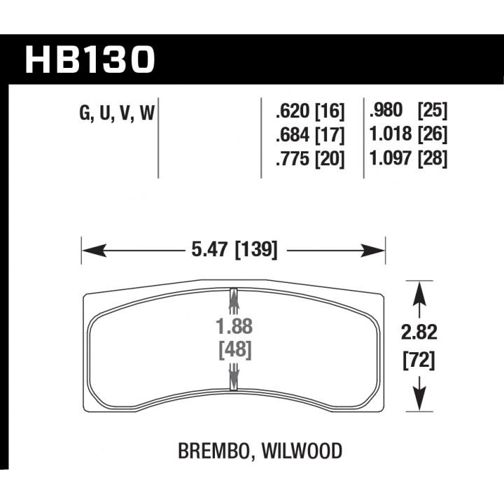 Hawk Performance HB130U1.097 Disc Brake Pad DTC-70 w/1.097 Thickness Front or Rear