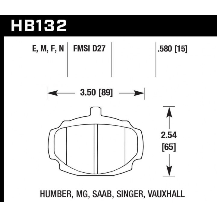 Hawk Performance HB132E.580 Disc Brake Pad Blue 9012 w/0.580 Thickness Front