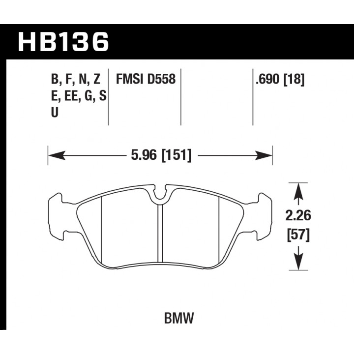 Hawk Performance HB136S.690 Disc Brake Pad HT-10 w/0.690 Thickness Front