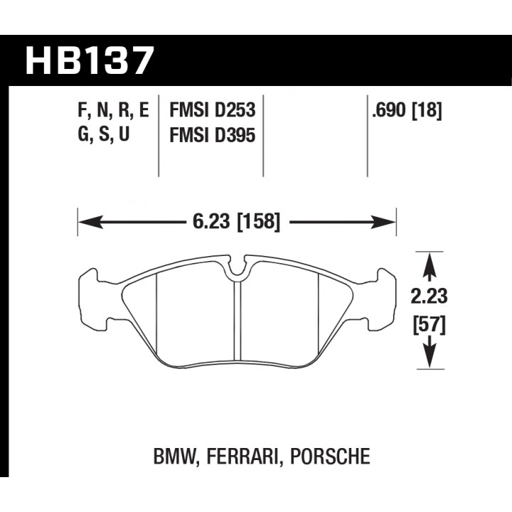 Hawk Performance HB137E.690 Disc Brake Pad Blue 9012 w/0.690 Thickness Front