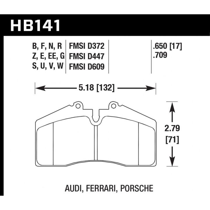 Hawk Performance HB141V.650 Disc Brake Pad HT-14 w/0.650 Thickness Rear