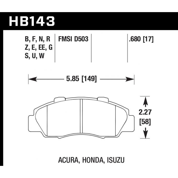 Hawk Performance HB143F.680 Disc Brake Pad HPS Performance Street w/0.680 Thickness Front