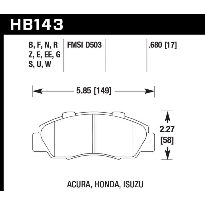 Hawk Performance HB143G.680 Disc Brake Pad DTC-60 w/0.680 Thickness Front