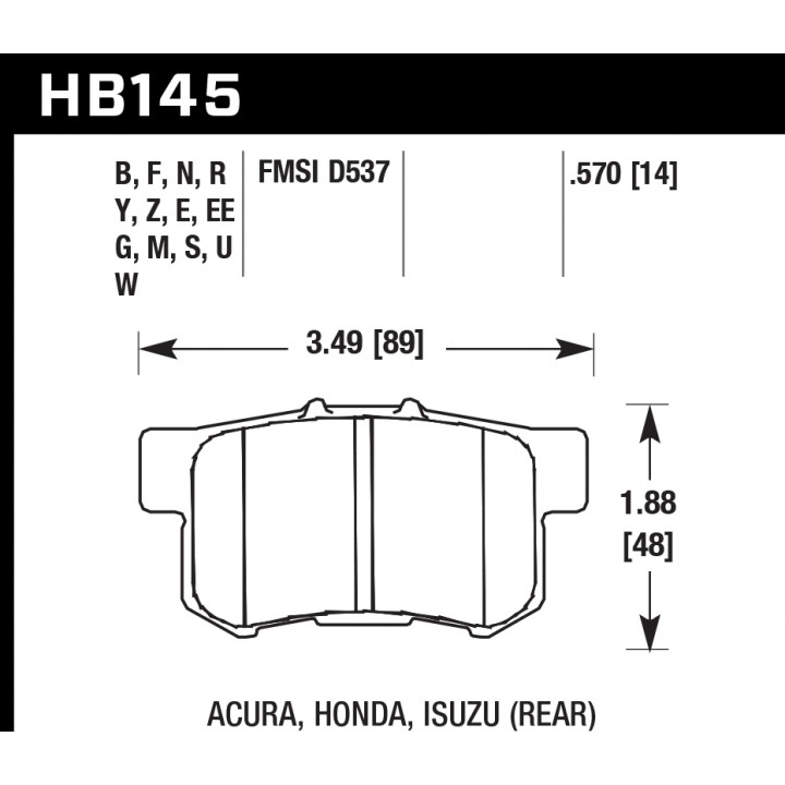 Hawk Performance HB145S.570 Disc Brake Pad HT-10 w/0.570 Thickness Rear