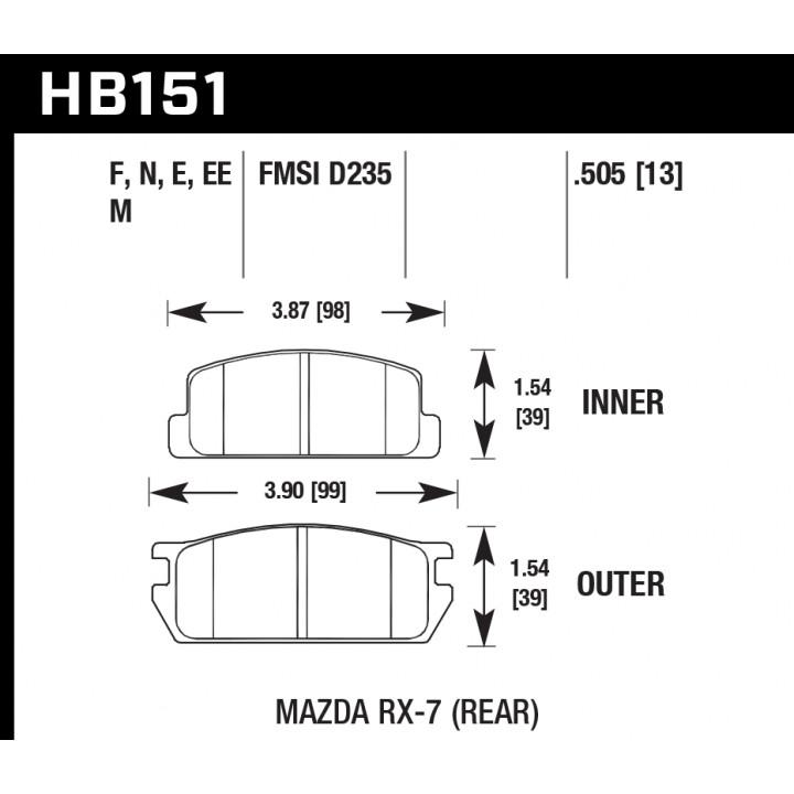 Hawk Performance HB151M.505 Disc Brake Pad Black w/0.505 Thickness Rear