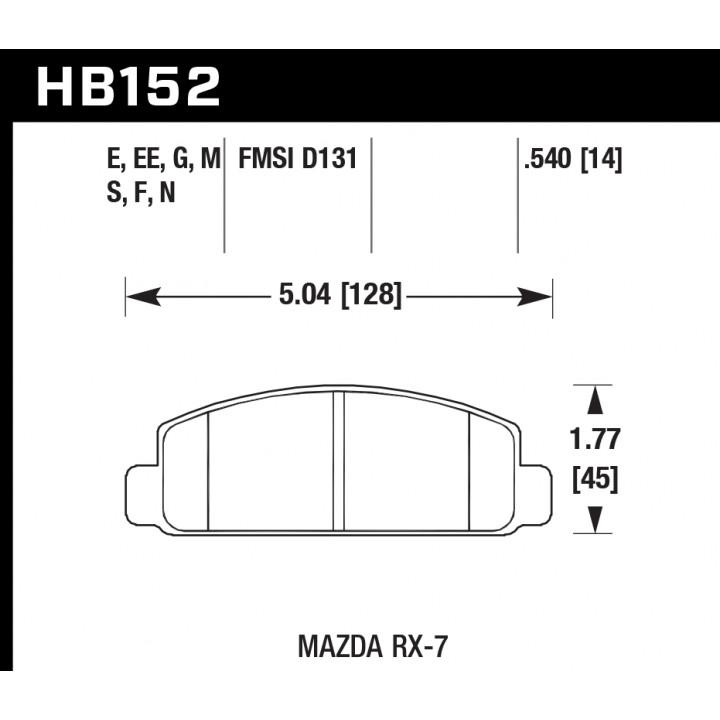 Hawk Performance HB152F.540 Disc Brake Pad HPS Performance Street w/0.540 Thickness Front