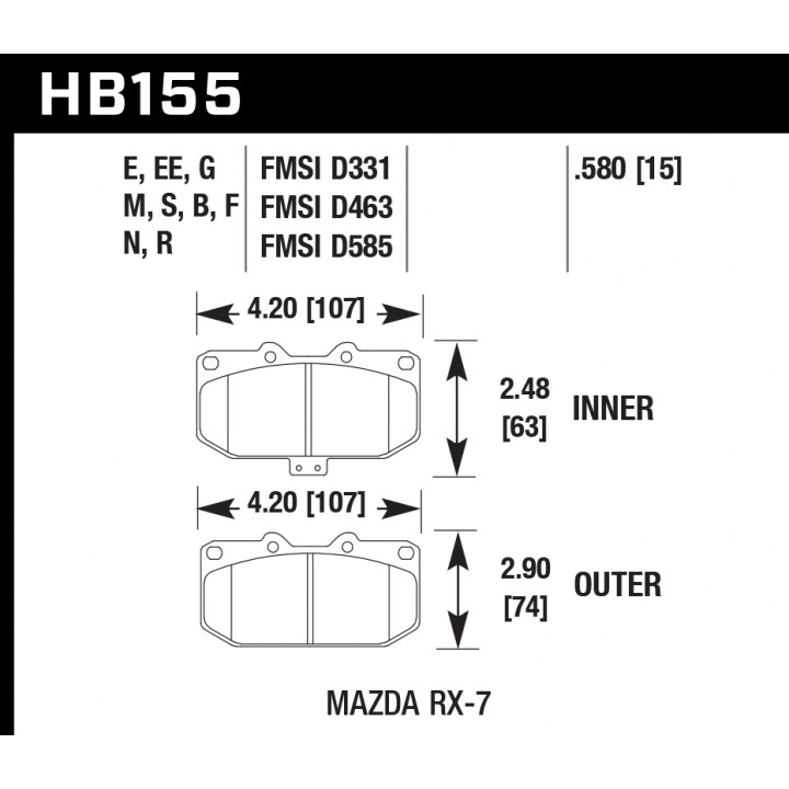 Hawk Performance HB155S.580 Disc Brake Pad HT-10 w/0.580 Thickness Front