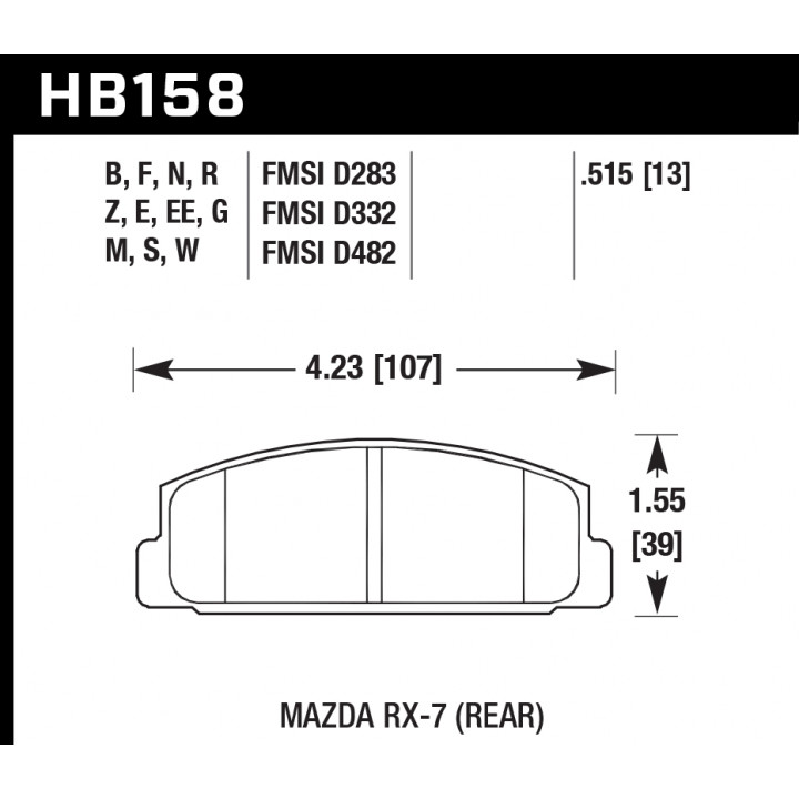 Hawk Performance HB158W.515 Disc Brake Pad DTC-30 w/0.515 Thickness Rear