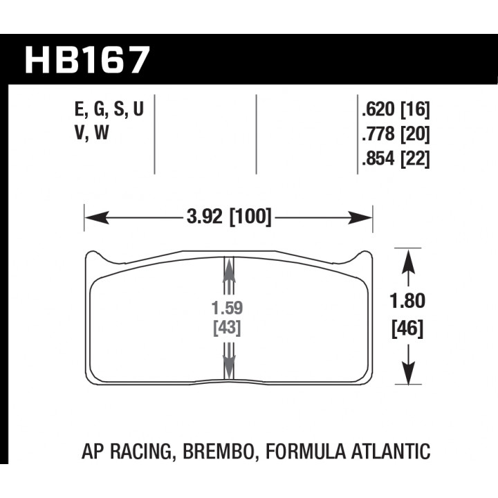Hawk Performance HB167G.854 Disc Brake Pad DTC-60 w/0.854 Thickness Front or Rear