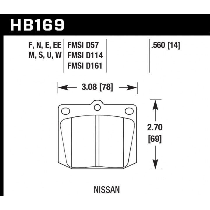 Hawk Performance HB169E.560 Disc Brake Pad Blue 9012 w/0.560 Thickness Front