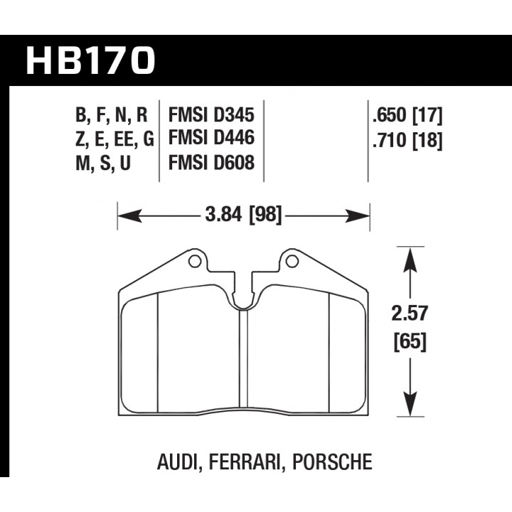 Hawk Performance HB170Z.650 Disc Brake Pad Performance Ceramic w/0.650 Thickness Front or Rear