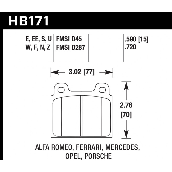 Hawk Performance HB171E.590 Disc Brake Pad Blue 9012 w/0.590 Thickness Front