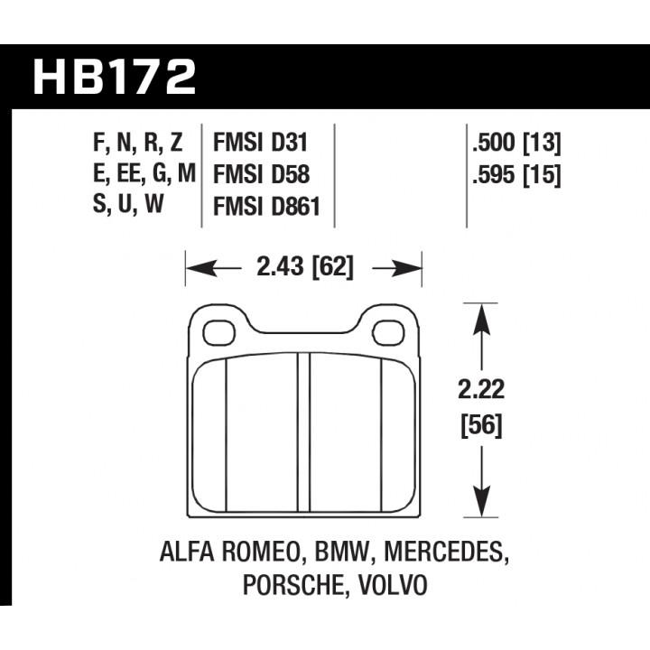 Hawk Performance HB172W.595 Disc Brake Pad DTC-30 w/0.595 Thickness Front