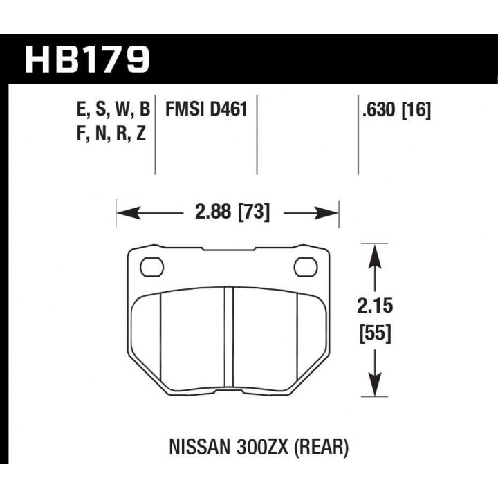 Hawk Performance HB179N.630 Disc Brake Pad HP Plus w/0.630 Thickness Rear
