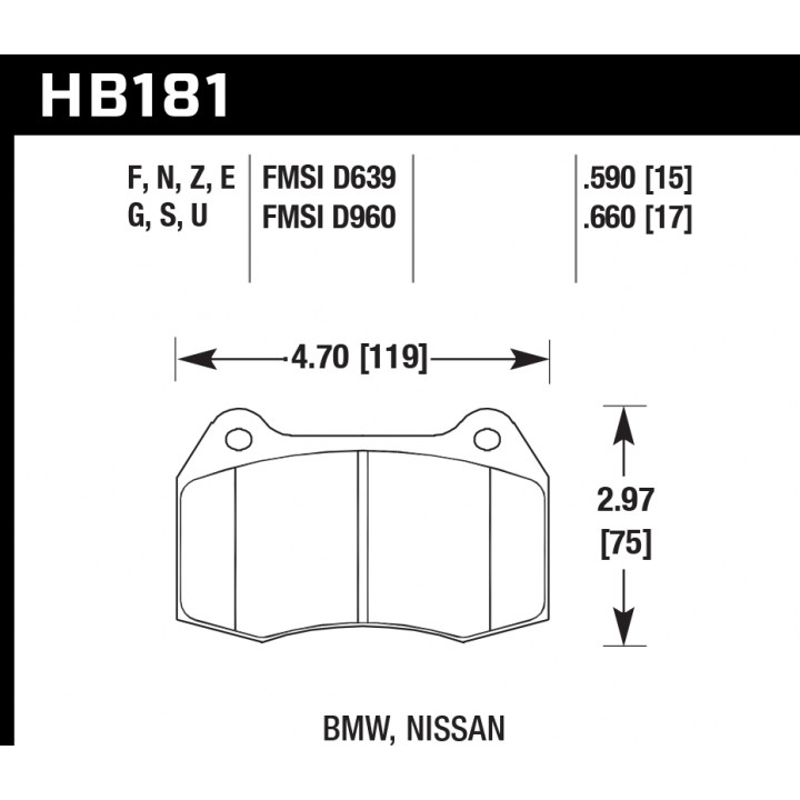 Hawk Performance HB181F.660 Disc Brake Pad HPS Performance Street w/0.660 Thickness Front