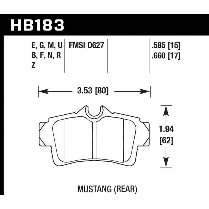 Hawk Performance HB183N.585 Disc Brake Pad HP Plus w/0.585 Thickness Rear