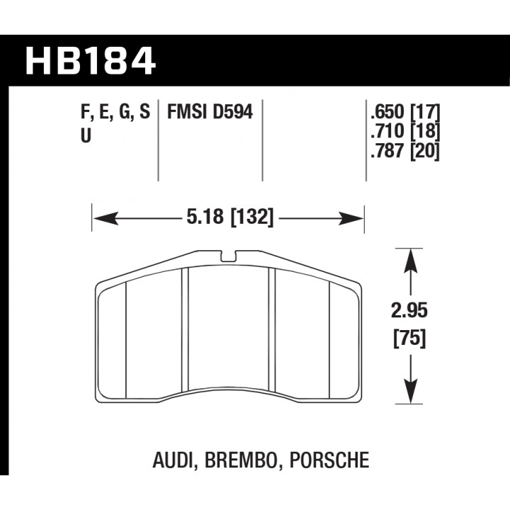 Hawk Performance HB184G.787 Disc Brake Pad DTC-60 w/0.787 Thickness Front