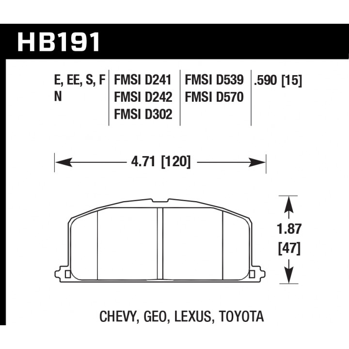 Hawk Performance HB191N.590 Disc Brake Pad HP Plus w/0.590 Thickness Front