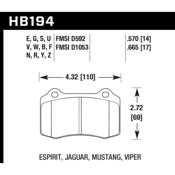 Hawk Performance HB194S.665 Disc Brake Pad HT-10 w/0.665 Thickness Front
