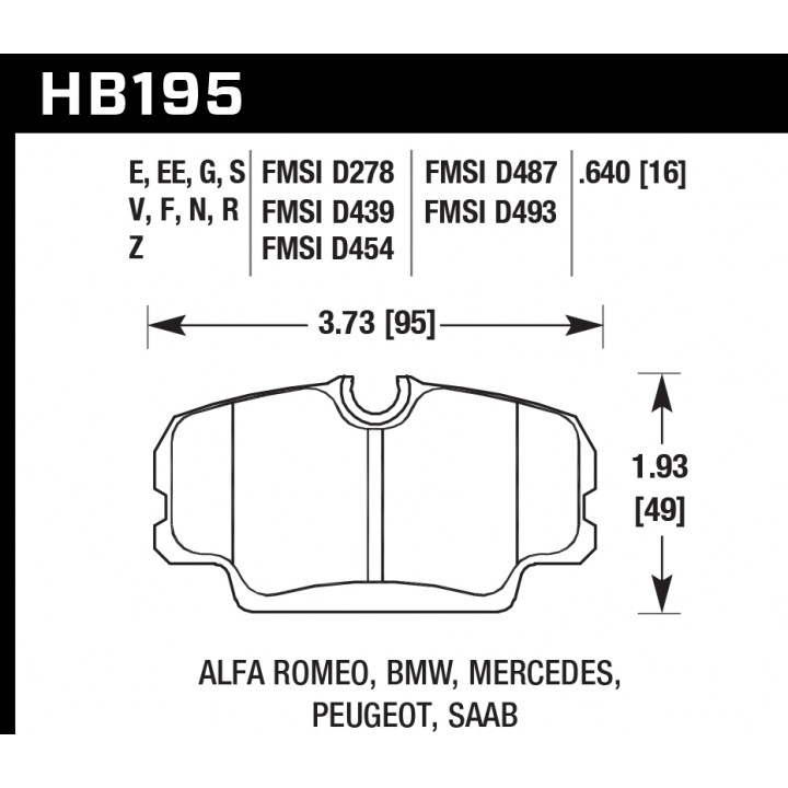 Hawk Performance HB195S.640 Disc Brake Pad HT-10 w/16mm Thickness Front