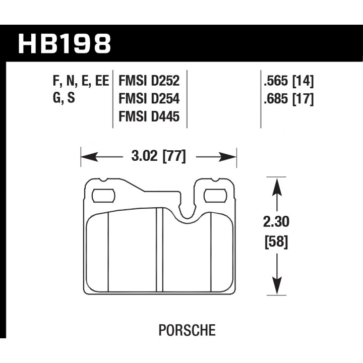 Hawk Performance HB198F.685 Disc Brake Pad HPS Performance Street w/0.685 Thickness Front