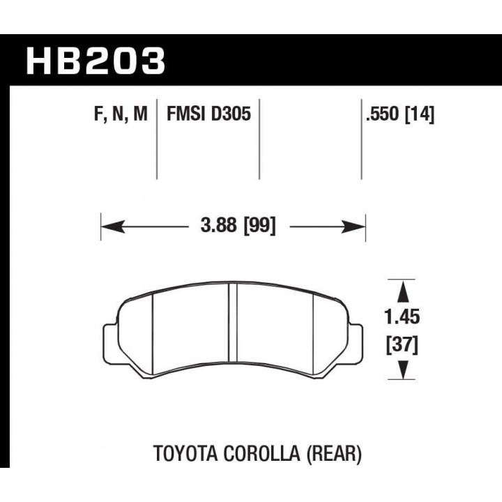 Hawk Performance HB203F.550 Disc Brake Pad HPS Performance Street w/0.550 Thickness Rear