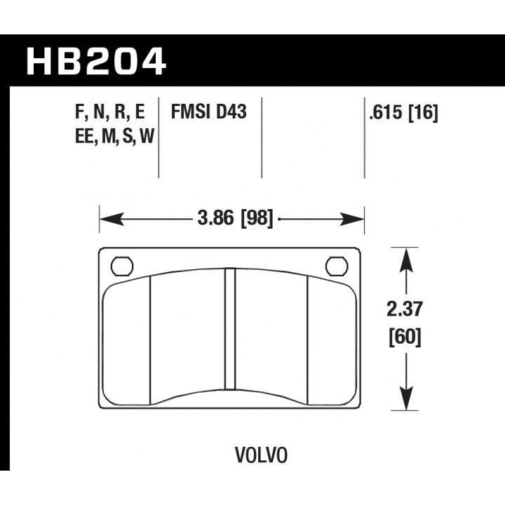 Hawk Performance HB204M.615 Disc Brake Pad Black w/0.615 Thickness Front