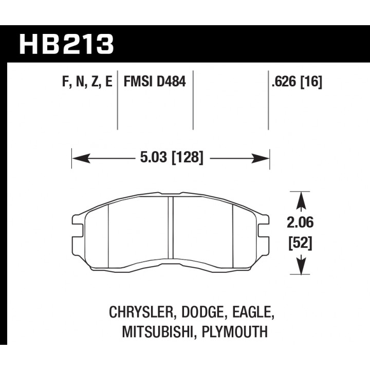 Hawk Performance HB213F.626 Disc Brake Pad HPS Performance Street w/0.626 Thickness Front