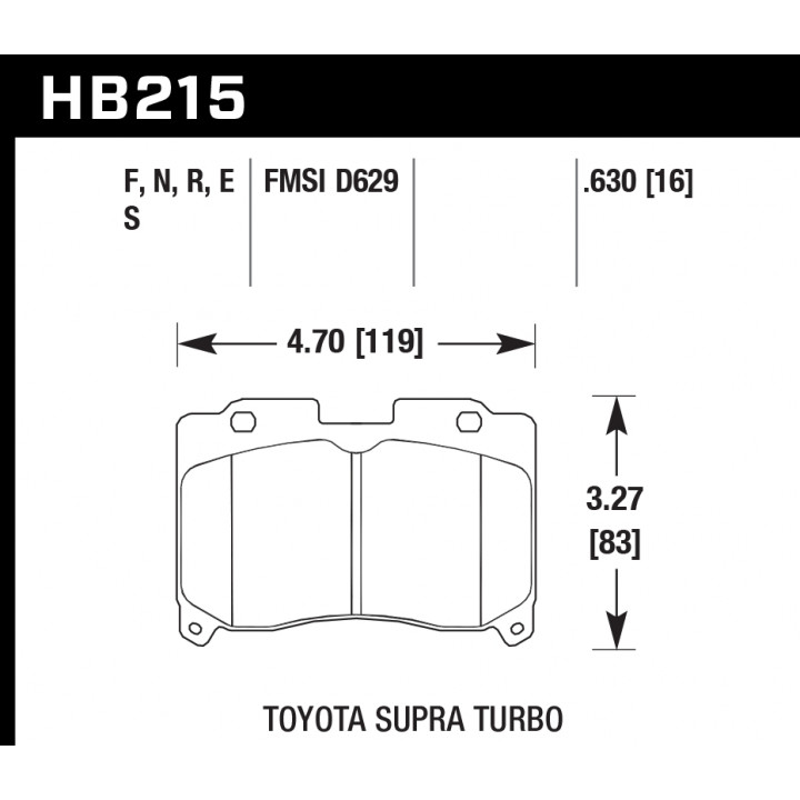 Hawk Performance HB215S.630 Disc Brake Pad HT-10 w/0.630 Thickness Front