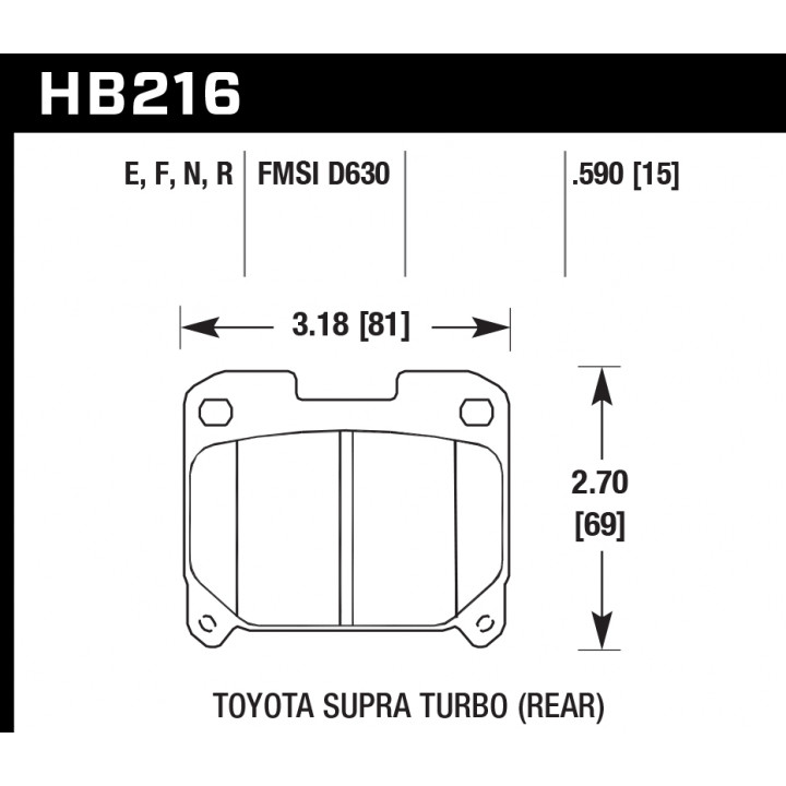 Hawk Performance HB216F.590 Disc Brake Pad HPS Performance Street w/0.590 Thickness Rear
