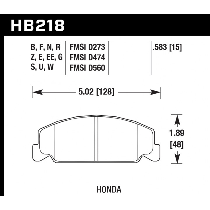 Hawk Performance HB218G.583 Disc Brake Pad DTC-60 w/0.583 Thickness Front