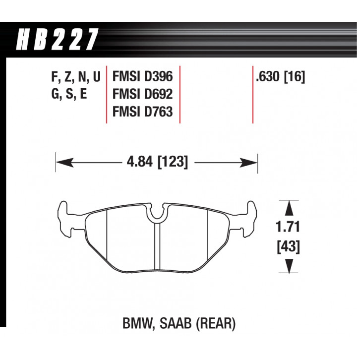 Hawk Performance HB227G.630 Disc Brake Pad DTC-60 w/0.630 Thickness Rear