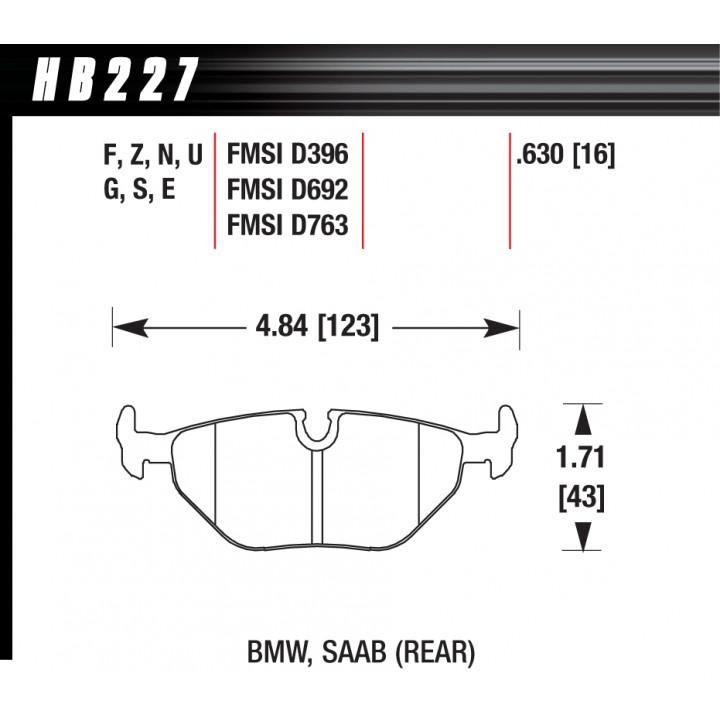 Hawk Performance HB227S.630 Disc Brake Pad HT-10 w/0.630 Thickness Rear