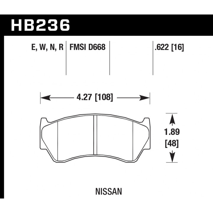 Hawk Performance HB236N.622 Disc Brake Pad HP Plus w/0.622 Thickness Front