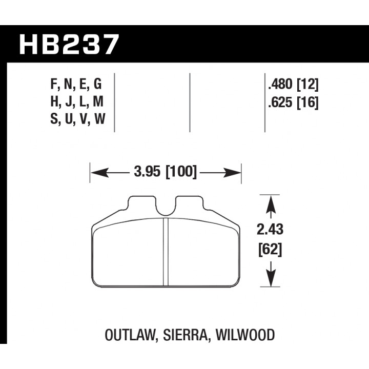 Hawk Performance HB237H.625 Disc Brake Pad DTC-05 w/0.625 Thickness Front or Rear