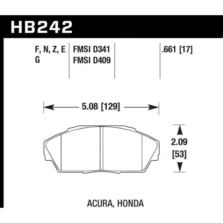 Hawk Performance HB242E.661 Disc Brake Pad Blue 9012 w/0.661 Thickness Front