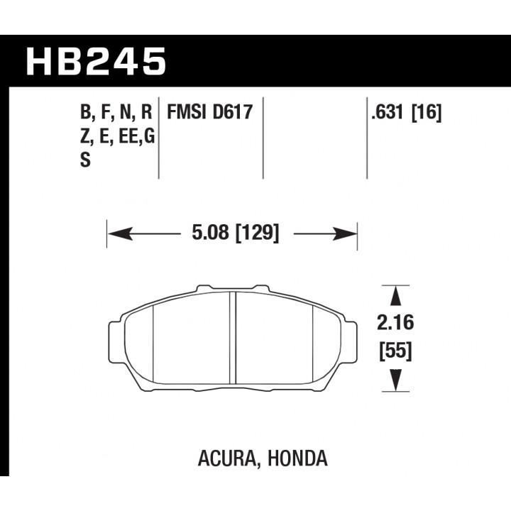 Hawk Performance HB245G.631 Disc Brake Pad DTC-60 w/0.631 Thickness Front