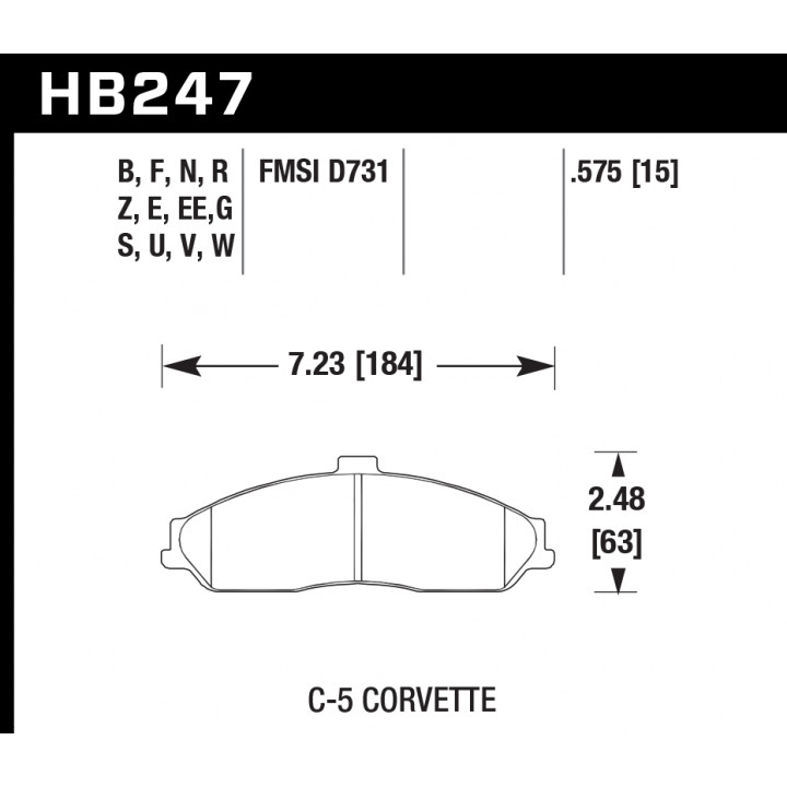 Hawk Performance HB247W.575 Disc Brake Pad DTC-30 w/0.575 Thickness Front