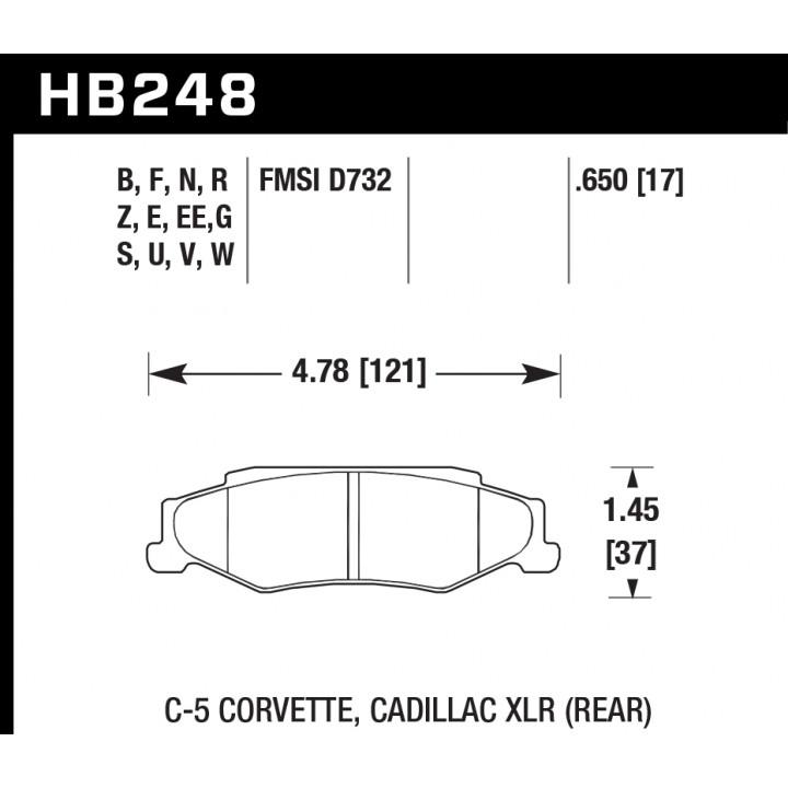 Hawk Performance HB248U.650 Disc Brake Pad DTC-70 w/0.650 Thickness Rear