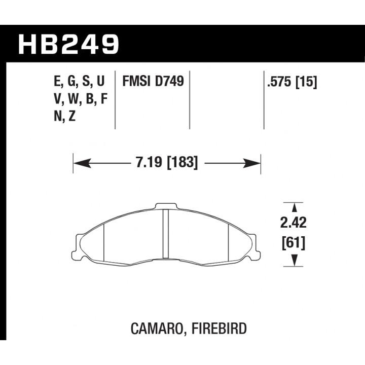 Hawk Performance HB249Z.575 Disc Brake Pad Performance Ceramic w/0.575 Thickness Front